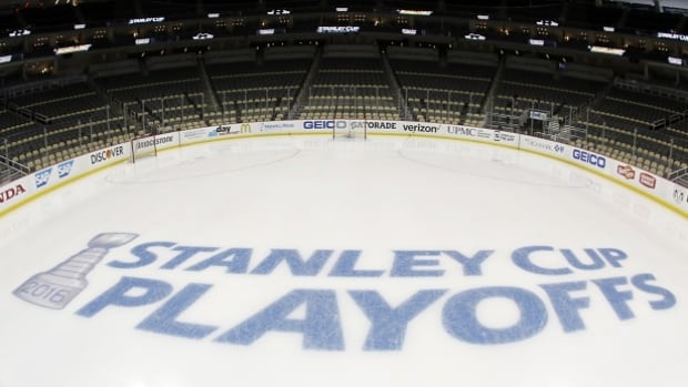 The Stanley Cup Playoffs logo is seen on the ice before Game Two of the Eastern Conference Quarterfinals between the Pittsburgh Penguins and the New York Rangers during the 2016 NHL Stanley Cup Playoffs at Consol Energy Center.