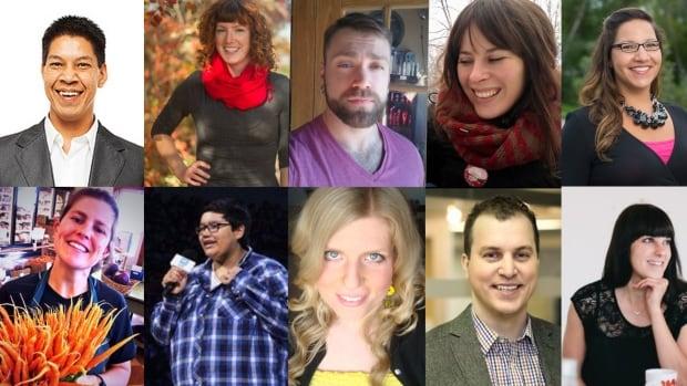 Our second round of Manitoba Future 40 finalists. Top row, left-right: Tim Stevenson, Kalynn Spain, Jared Star, Shauna Labman, Dené Sinclair. Bottom row, left-right: Erin Crampton, Shania Pruden, Karlee Sapoznik, Chris Johnson, Liane Veness.
