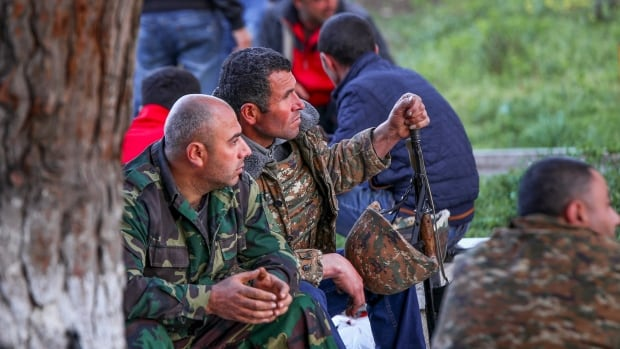 On Saturday, Armenian volunteers were at the ready in the town of Askeran in the separatist Nagorno-Karabakh region, which has been under the control of local ethnic Armenian forces and the Armenian military since a war ended in 1994 with no resolution of the region's status.