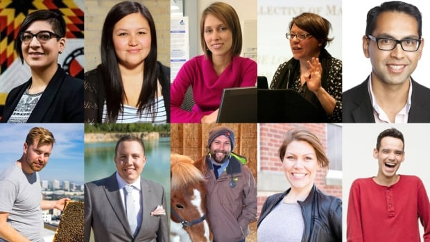 Meet your last group of 10 finalists in Future 40 Manitoba 2016. Top row, left-right: Sadie-Phoenix Lavoie, Melissa Brown, Meghan Azad, Monique Woroniak, Alberto Velasco. Bottom row, left-right: Christopher Kirouac, Tyler Geisler, Jonas Watson, Jade Harper, Michael Champagne.