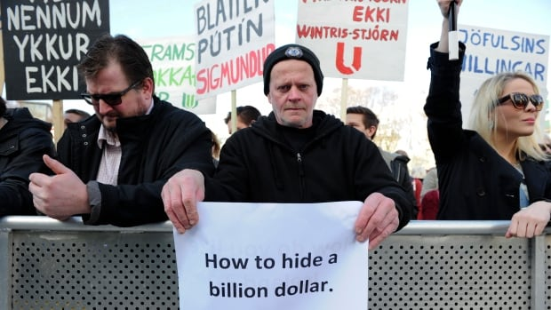 People in Reykjavik, Iceland, demonstrate against Prime Minister Sigmundur Gunnlaugsson after a leak of documents revealed that his wife owned a tax haven-based company with large claims on the country's collapsed banks.