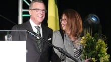 Brad Wall and wife Tami in Swift Current on April 4, 2016