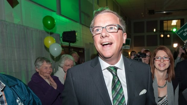 Brad Wall and his wife Tami arrive at the Saskatchewan Party victory celebration at Palliser Pavilion in Swift Current, Saskatchewan, on Monday, April 4, 2016.