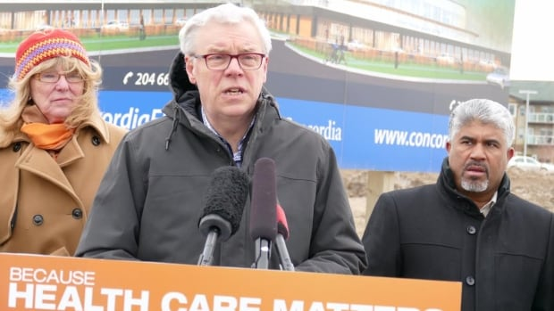Greg Selinger promised new money for health-care centres, including one-third funding for the Concordia Wellness Centre in northeast Winnipeg, on Tuesday.