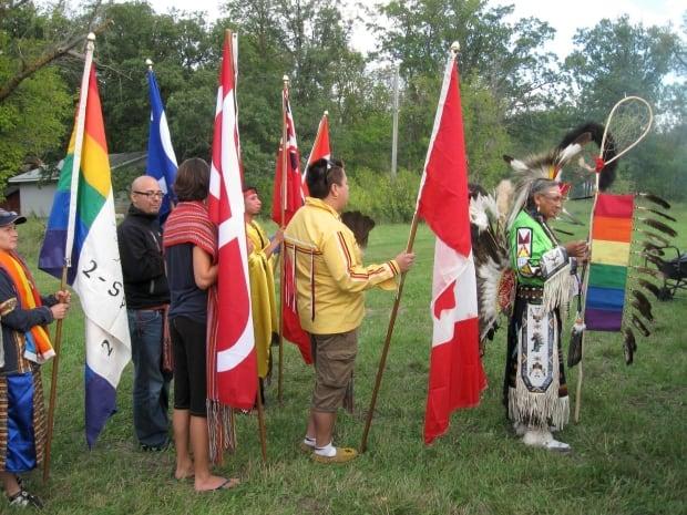 Pow wow at the 22nd Annual International Two-Spirit Gathering, Manitoba, 2010. Elder Wilfred Abigos