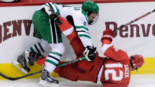 Drake Caggiula of Whitby, Ont., was inspired to play U.S. college hockey after watching a young Jonathan Toews, a one-time standout with the University of North Dakota and now star forward with the NHL's Chicago Blackhawks. Caggiula, also a forward, will be making his third straight Frozen Four appearance this week in Tampa, Fla., with North Dakota. He has 58 goals and 122 points in 160 games since arriving at the school in 2012 and is expected to be a target for NHL teams as an undrafted free agent.
