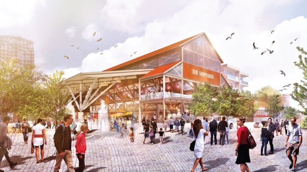 An artist's rendering shows the plan for The Shipyards development on North Vancouver's waterfront. The project is set to be completed in 2018.