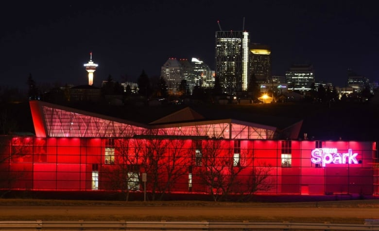 The Telus Spark Science Centre Seen At Night With