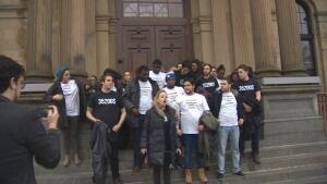 University of Moncton students protest debt at Legislative Assembly, T-shirts