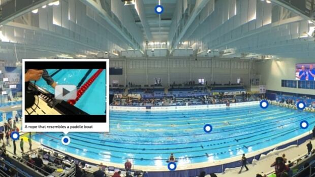An interactive photo of the Pan Am Aquatics Centre with poolside videos that offer a behind-the-scenes look at what the swimmers experience while competing.