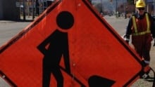 Road work sign thunder bay tighter crop