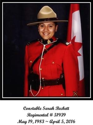 Const Sarah Beckett RCMP 1983-2016