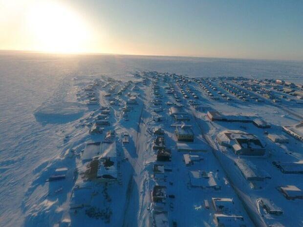 Arviat Drone shot Nunavut Apr 11, 2016