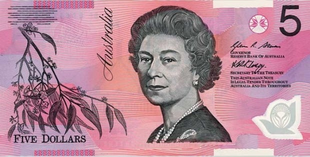 Current Australian five-dollar bill
