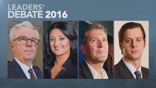 NDP Leader Greg Selinger, left, Liberal Leader Rana Bokhari, Progressive Conservative Leader Brian Pallister and Green Party Leader James Beddome took part in the televised leaders' debate on Tuesday evening.