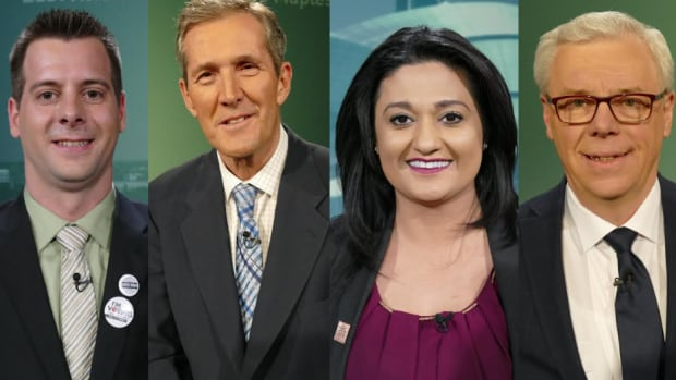 The leaders from each of the main four political parties in Manitoba. They are, from left, James Beddome (Green Party), Brian Pallister (Progressive Conservative Party), Rana Bokhari (Liberal Party), Greg Selinger (NDP).