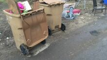 Back alley garbage trash discarded junk Regina recycle brown roll-out bin