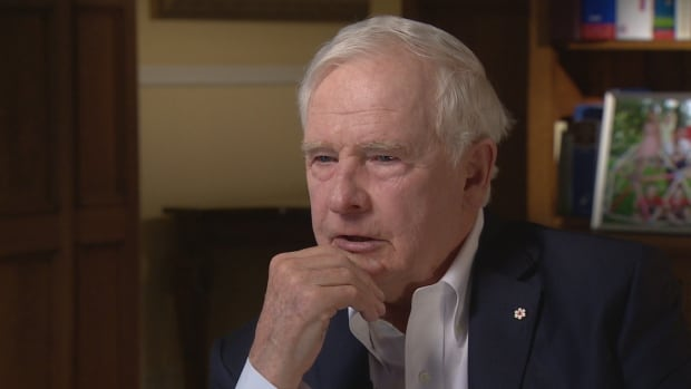 Gov. Gen. David Johnston is seen during an interview with CBC's Peter Mansbridge in April 2016.