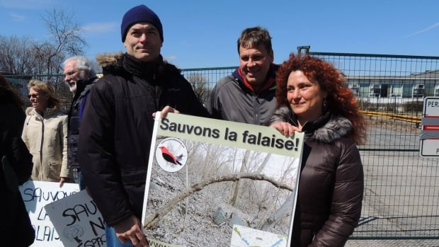Lisa Mintz (right) and other protesters want an end to the cutting of trees at the former Dorval Municipal Golf Course.