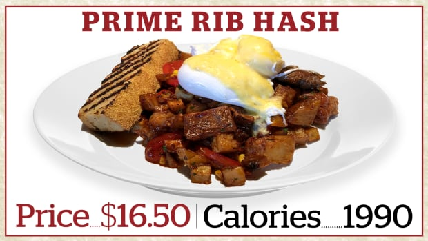 According to Milestones' own data, the restaurant chain's prime rib hash brunch item has 1,990 calories — and that excludes the bread.