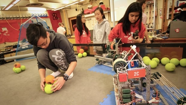 Gladstone Secondary students test their robots as they prepare to travel to the VEX Worlds high school robotics competition in Louisville, Kentucky.