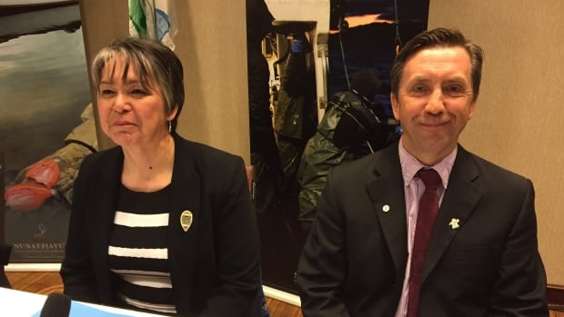 Nunatsiavut Government President Sarah Leo (left) and Darryl Shiwak, Minister of Lands and Natural Resources, were in St. John's Monday to release a scientific study of mercury levels likely at Muskrat Falls.