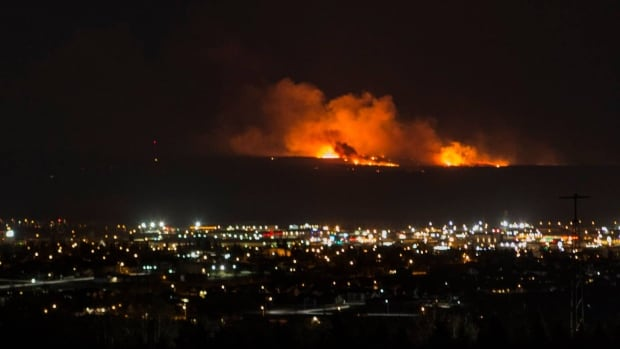 Wildfire burning near Fort St. John, B.C. on Monday night.