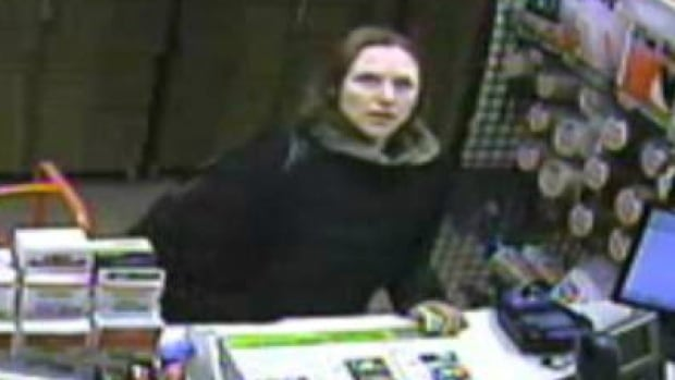 Andrea Giesbrecht is shown in this surveillance camera image from the McPhillips Street U-Haul facility in Winnipeg on Oct. 3, 2014. The video footage was presented at Giesbrecht's trial, which began Monday.