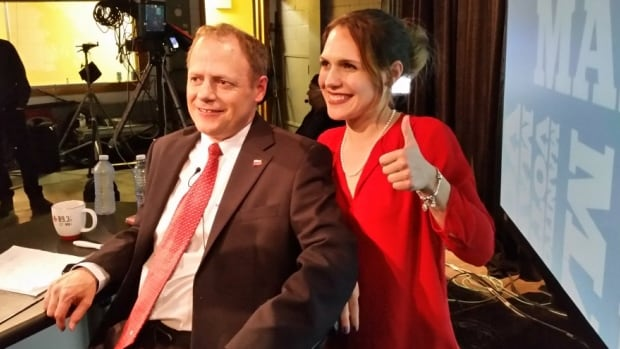 Cindy Lamoureux, right, celebrates her election win on April 19, 2016, with her father, Liberal MP and longtime MLA Kevin Lamoureux.