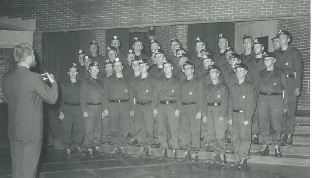 Jack O'Donnell directs the Men of the Deeps at an event at St. F.X. in 1967.