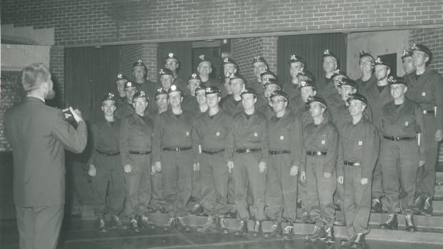 Jack O'Donnell directs the original Men of the Deeps at an event at St. F.X. in 1967.
