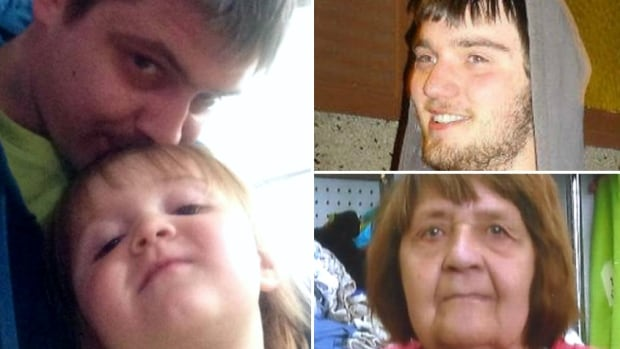 Derek Saretzky, top right, is being tried on three counts of first-degree murder in the 2015 deaths of senior Hanne Meketech, Terry Blanchette and Hailey.