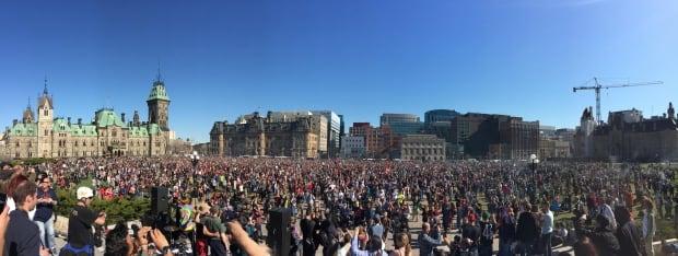 Pro Marijuana protestors gather on Parliament Hill