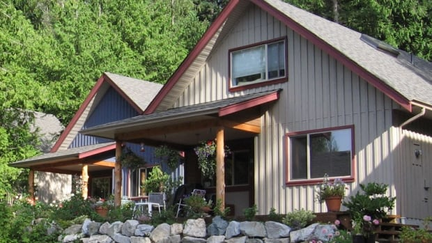 Two of the two-bedroom homes in the Roberts Creek co-housing community on the Sunshine Coast.  According to the community's website, the homes were designed by a local architect and were made relatively small to keep costs and the ecological footprint small.