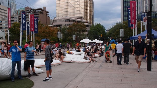 A 2012 photo shows one of the summer installations at the 800-block of Robson Street in Vancouver. The city has voted to close the street to traffic year-round.