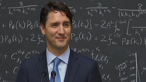 Prime Minister Justin Trudeau explains quantum computing during a visit to the Perimeter Institute in Waterloo, Ont.