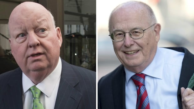 Justice Charles Vaillancourt, right, dismissed all 31 criminal charges against Senator Mike Duffy and condemned members of the Prime Minister's Office for their actions throughout the whole affair.