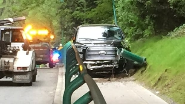 Truck Lands In Bike Lane On Stanley Park Causeway British