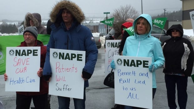 NAPE Protestors rally against the 2016 N.L. budget outside of the Eastern Health's Central Kitchen in St. John's.