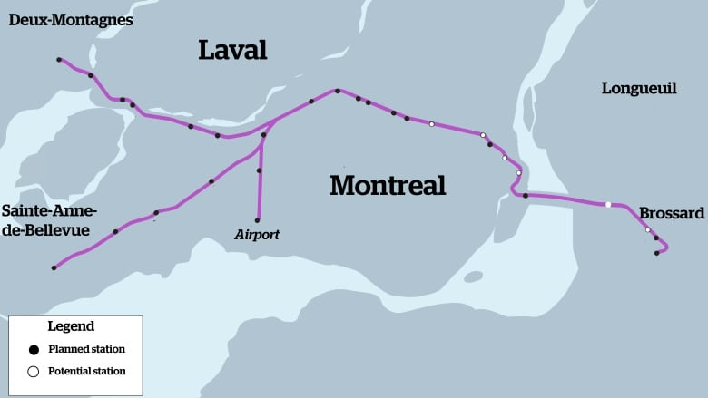 Where would Montreal's 24 new light rail stations be located
