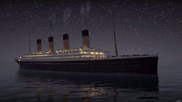 An online video simulation shows the Titanic sinking as a teaser for a video game in production.