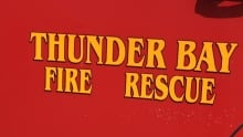 Thunder Bay fire rescue sign close crop