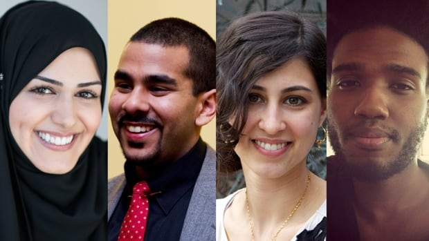 From left to right: Laya Behbahani, Rahamatullah Siddique, Assya Moustaqim-Barrette and Arden Maaliq - some of the young Muslims interviewed by CBC about the survey. The Environics Institute survey found that young Muslims identified more with their faith than older Muslim Canadians.