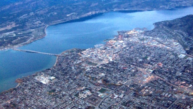 A view of downtown Kelowna from the air. Building permit approvals for residential projects increased 40 per cent between 2014 from 2015.