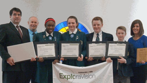 Rothesay Netherwood School students Ore Alugo, Heather Chisholm, Matthew Morehouse and Alec Oland won first prize for their division in the Toshiba/NSTA ExploraVision competition for their bulletproof clothing design.