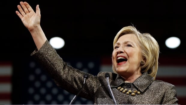 Democratic presidential candidate Hillary Clinton speaks at her rally April 26, 2016 in Philadelphia after winning four out of five primaries. She responded in her speech to Donald Trump's accusation that she is playing the 'woman card.'