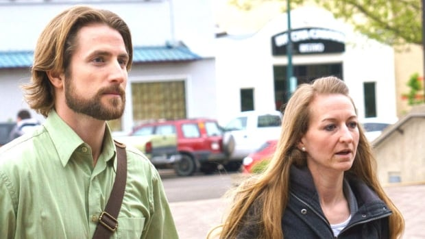 David and Collet Stephan leave the courthouse on Tuesday, April 26, 2016, in Lethbridge, Alta. The Stephans were on trial, charged with failing to provide the necessaries of life to their son Ezekiel in 2012.