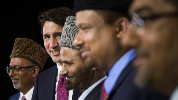 Liberal Leader Justin Trudeau, second left, with dignitaries at the Ahmadiyya Muslim Jama'at Conference during the federal election campaign.