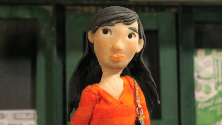 An animated Sook-Yin Lee, from Jim Goodall's short film 'Orange'.