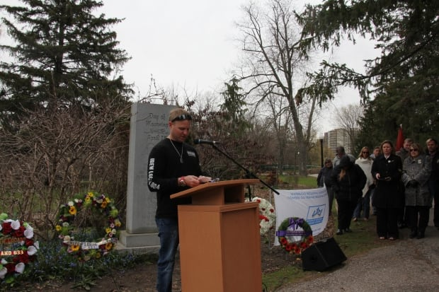 Eric Hunter speaks at Day of Mourning Ceremony in Kitchener